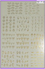 11 PACKS / LOT Gold / Silver Nail Art Water Transfers Stickers Metallic Nail Decals French Smile Lace Flower Y067-077