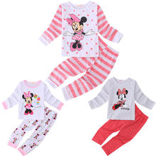 Cotton Kids Toddler Baby Girls Minn ie Mous e Sleepwear Pj's Cartoon Long Sleeve Top + Pant 2pcs Pajamas Sets 2-6Years
