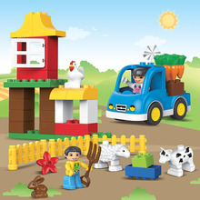 39pcs Large Size Happy Animals Farm Building Blocks Sets Animal Model Bricks Education Toys Compatible With legoeINGlys Duplos(China)