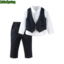 Mudkingdom boys suits weddings kids design jacket 2017 boy tuxedo suit set gentleman shirt+vest+pants wedding suit baby boy suit