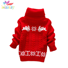 Belababy Girls Sweater Rabbit Easter Autumn 2017 New Baby Girl Sweater Baby Long Sleeve Turtleneck Winter Sweaters For Girls(China)