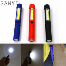 SANYI Mini COB LED Pen Multifunction Torch light Handle work cob round Work Hand Torch Flashlight Lantern Built-in Magnet Clip