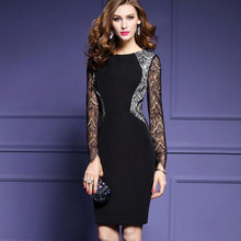 2017 spring new large size women Black lace stitching Seven points sleeves Sexy pack hip dress Slim thin career dress Female(China)