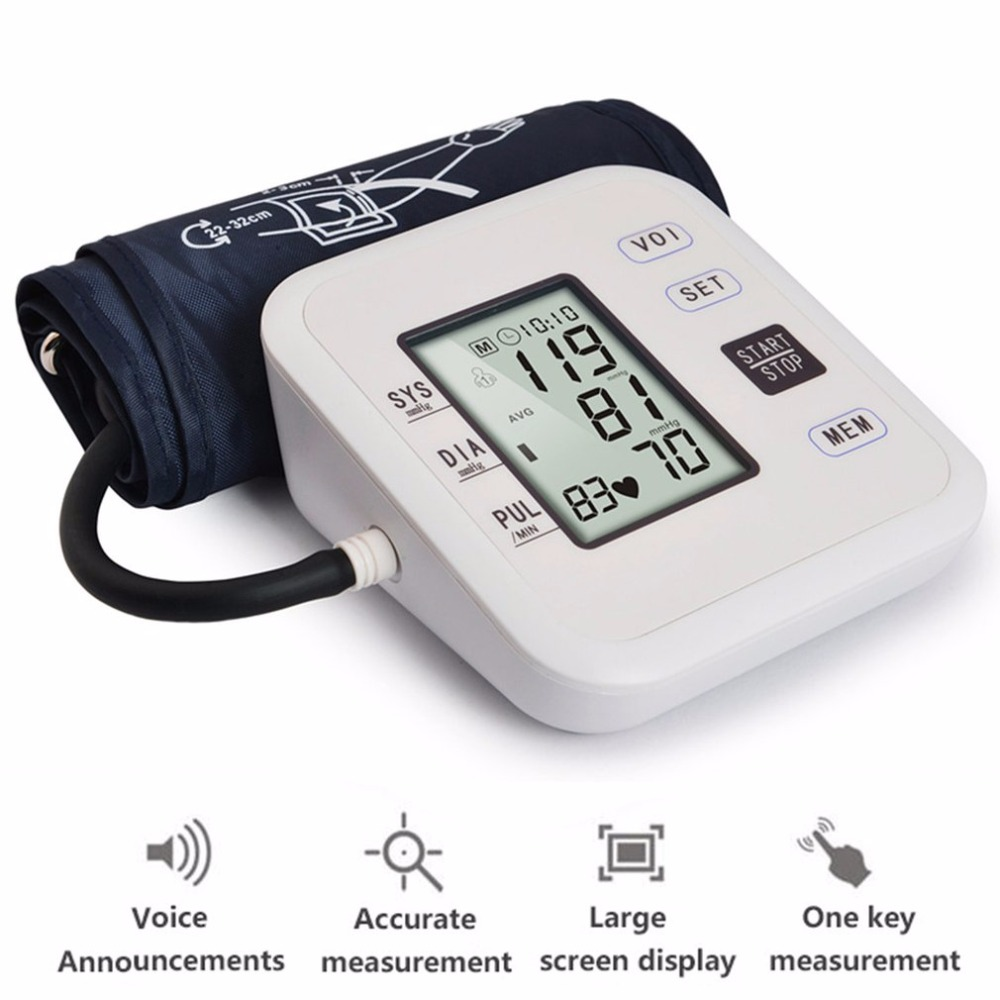 Arm Type Rechargeable Voice Tonometer Smart Digital Blood Pulse Pressure Monitor Health Care Household Sphygmomanometer Hot New 3