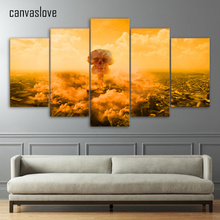 5 piece canvas art explode death of mushroom clouds wall pictures for living room poster and prints free shipping up-1485A