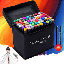 TOUCH COOL Series Artist Double Headed Sketch Marker Set 24/36/48/60/80 Colors Alcohol Based Manga Art Markers for Drawing