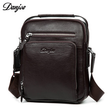 DANJUE Genuine Leather Men's Messenger Bags Cow Skin Shoulder Bag designer Crossbody bag high quality real leather bag for Ipad(China)