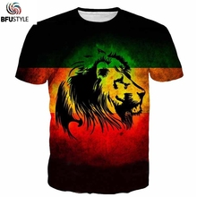 BFUSTYL Mens T Shirts 2017 Fashion Summer Brand Clothing 3D Animal Lion T-shirt Casual Tops Tees Homme Hipster Tie Dye Tshirt