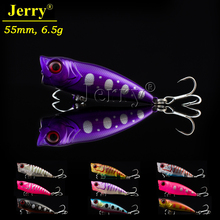 Jerry 1pc 55mm 6.5g topwarter surface hard body bait artificial lures finesse fishing popper lures(China)