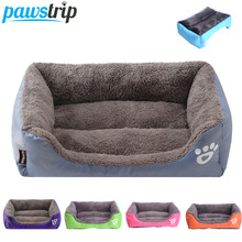 S-3XL Candy Color Paw Pet Sofa Dog Beds Waterproof Bottom Soft Fleece Warm Cat Bed House(China)