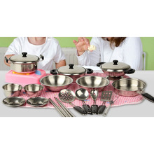 20 pcs lot Stainless Steel Baby Kitchen Set Toys Kids Christmas Gift Miniature Kitchen Cook Tools Simulation Play House Toys(China)