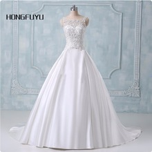 Ball Gown Wedding Dresses 2017 New Actual Image Appliques Cap Sleeve Wedding Dress Bridal Gown All Size(China)