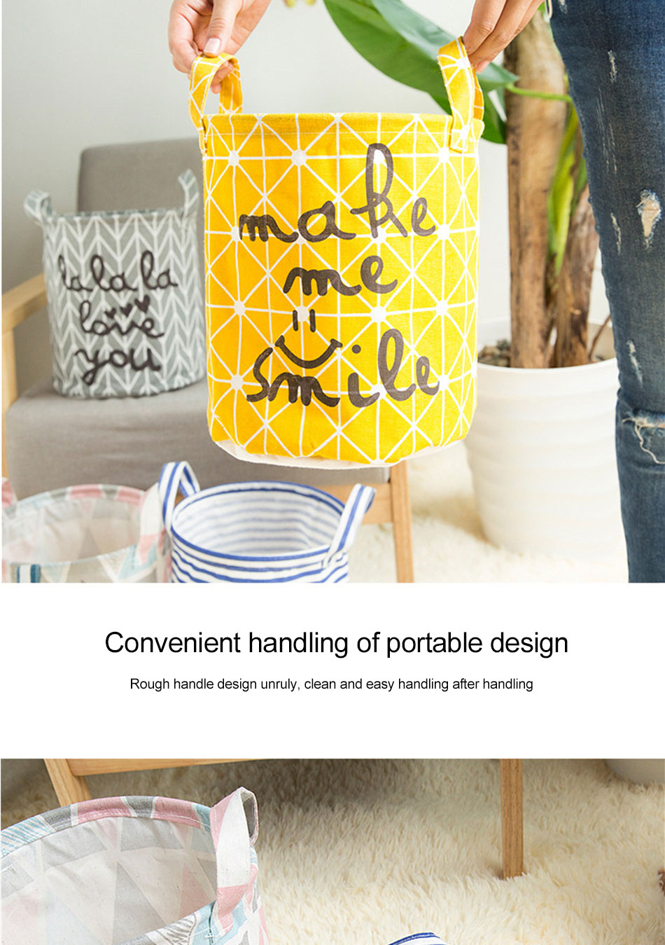 Storage Baskets Folding Laundry Basket Yellow Arrow Couple Linen Washing Clothes Barrel Bags With Handles Kids Toys Hamper Bag (6)