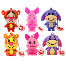 Retail Genuine 4GB 8GB 16GB 32GB 64GB USB Thumb Memory Stick Pen Drive Cartoon Cute Tiger/Donkey/Pig USB Flash Drive With Plug