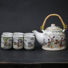 New 1set/7pcs Chinese Famille Rose Porcelain Hand-painted Mansion Porcelain Teapot & Cups set