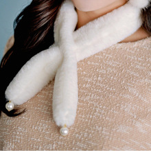 2pcs a lot super cute small velvet fur ring pearl decor collar fur unique scarf wholesale faux fur scarf super soft sweet scarf
