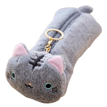 Affordable Cute Cat Design Soft Plush Pencil velvet Case Stationery Storage Organizer Bag School Office Supply School(China)