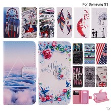 2016 Fashion Colorful Paint  Flip PU Leather Coque Fundas For Capa Para Samsung Galaxy S3 SIII i9300 Cover Wallet With Card Slot