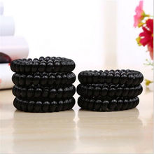 2pcs Black Telephone Wire Line Elastic Bands For Hair Ties Scrunchy,Spring Rubber Band Gum For Hair Accessories Hair Rubber Rope