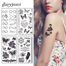 glaryyears 25 Pieces Beauty Rose Flowers Tattoo Sticker Female Waist Arm Art Paint Temporary Tattoo Sticker Water Transfer Fresh(China)