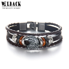 Welcome Fashion Jewelry Brand Animal Prairie Eagle Vintage Ethnic American Style Fastidious Beads Charm Leather Bracelets(China)