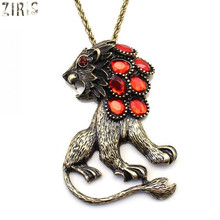 ZIRIS   States trade the single big popular personality exaggerated the lion long pendant men women necklace