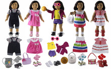 "5 Set Doll Clothes+5 pairs Shoes+5 pairs Socks+4 Bags+1 pairs Glasses+1 Basketball for 18""American Girl Doll(China)"