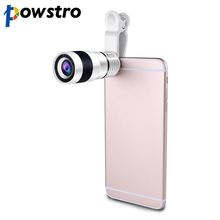 Powstro 8x Zoom Optical Phone Telescope Portable Mobile Phone Telephoto Camera Lens and Clip for iPhone Samsung Huawei XIAOMI(China)