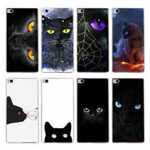42GH black cat  Hard Transparent Cover for Huawei P7 P8 P8 P9 Lite Honor 4C 5C 6 7 8  & Nova