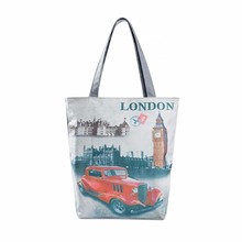 Special Modern Pattern Flower London Big Ben Canvas Tote Casual Beach Bags Women Shopping Bag Handbags Wholesale Free Shipping