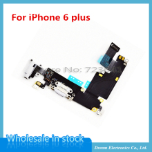 MXHOBIC 5pcs/lot Charger Charging Port Dock Mic Headphone Jack Flex Cable For iPhone 6plus 5.5'' White / Gray