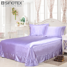 Home Textile Polyester Silk Imitate Fabric Solid Bed Sheet Pillowcase Pillow Cover Fillet Decoration Bed Bedroom 19 Color 3 Size(China)