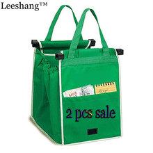 Leeshang 2Pcs As Seen On TV Grocery Grab Shopping Bag Foldable Tote Eco-friendly Reusable Large Trolley Supermarket  Bags