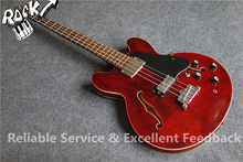 Chinese Music Instrument ES Jazz Hollow Guitar Electric Bass Guitarra 4 Strings Archtop Maple Body In Stock