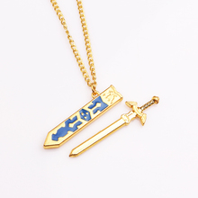 Legend Of Zelda Removable Master Sword Necklaces & Pendants Gold Chain Sky Sword with Sheath Necklace Game Jewelry