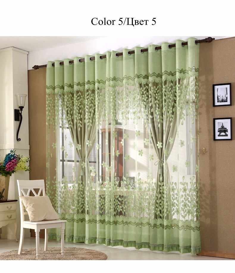 European Royal Curtains 11 Colors Embroidered Voile Curtains for Living Room Drapes Crystal Beaded Curtains Sheer (69)