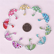 60pcs Decorative Wooden Umbrella Handle Buttons Natural Heart Dot 30*35mm Fastener For Clothing Mixed Color Random Sewing 2 Hole(China)