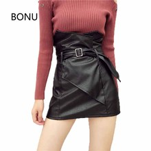 Buy BONU Sexy High Waist PU Leather Skirt Slim Asymmetric Short Women Skirt A-Line Office Skirts Womens Vintage Bodycon Mini Skirt for $14.99 in AliExpress store