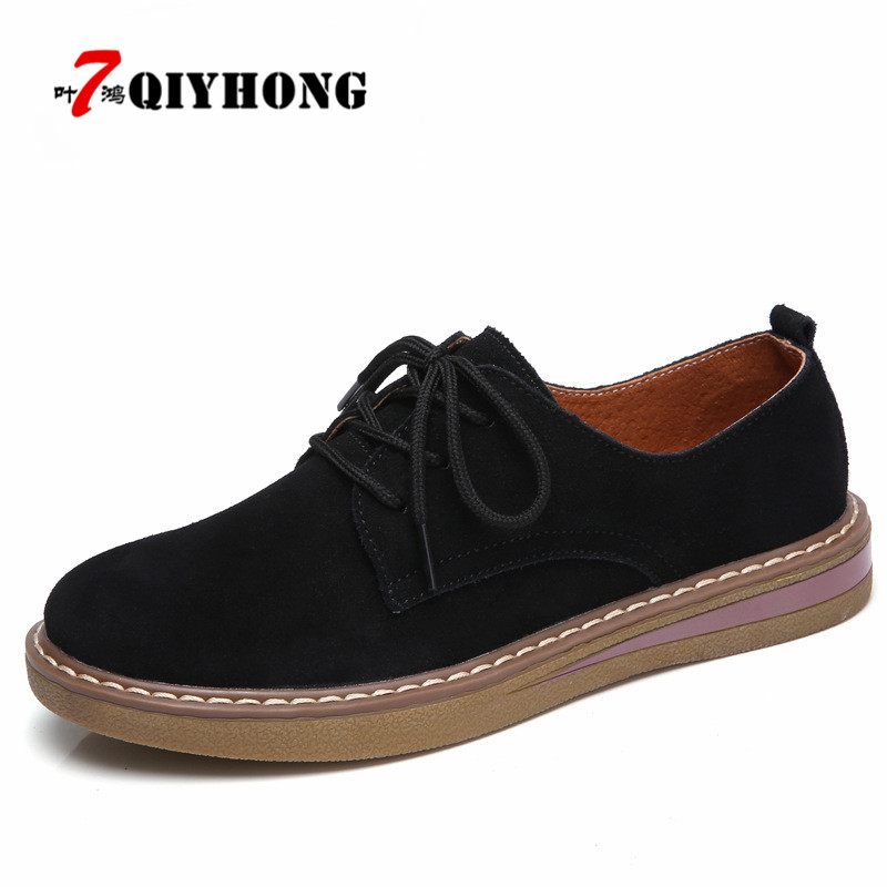 QIYHONG 2018  Autumn Women Sneakers Oxford Shoes Flats Shoes Women Leather Suede Lace Up Boat Shoes Round Toe Flats Moccasins<br>