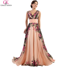 Evening Dresses Long Grace Karin 4 Design Robe De Soiree Flower Print Summer Chiffon Cheap Formal Evening Gown Plus Size 7502(China)