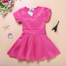 2017 new hot!! infant toddler casual wear hot pink cotton short sleeved newborn baby girl dress 3 months to 24 months