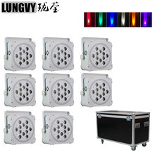 Free Shipping 8pcs/Lot Flight Case 12X18W 6in1 RGBWA UV Led Par Light Wireless Battery Powered Led Par Can DMX Dj