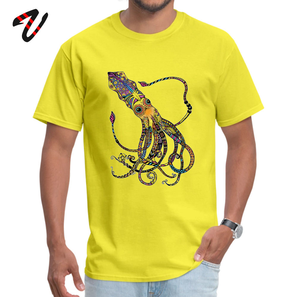 On Sale Men T-Shirt Crew Neck Short Sleeve 100% Cotton Electric Squid Tops T Shirt Design Tees Top Quality Electric Squid 297 yellow