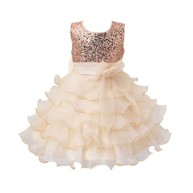 Newest Cool Summer Girl Sleeveless Sequined Floral Bow Ball Gown Party Layered Dresses one Piece Daily Dress 5 Colors<br><br>Aliexpress