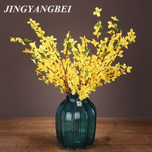 Artificial flowers Winter jasmine Spring Blossom jasminum nudifloru 5 heads table decoration flower home decor artificial orchid(China)