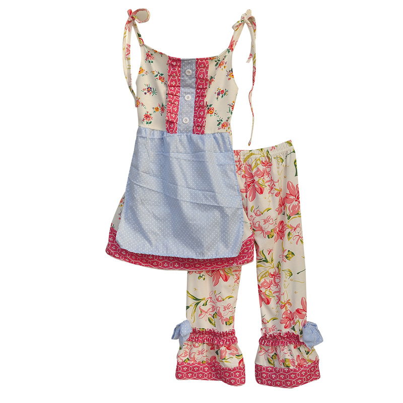 Girls Dresses Summer 2016 With Pants Floral Pattern Strappy Design Ruffled Chest Hem Cotton Fabric Kids Clothing Set S081<br><br>Aliexpress
