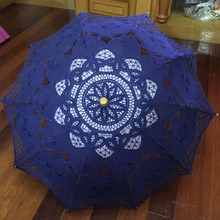 Buy vintage parasol umbrella royal blue handmade parasol umbrella wedding bridal lace parasol wedding accessories for $16.69 in AliExpress store