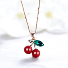 Buy 2018 New Fashion Necklace Women Austrian Crystal Cherry Pendant Necklace Girl's Jewelry Gift for $3.35 in AliExpress store