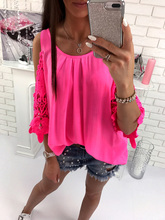 2017 new arrivals summer sexy pink orange hollow out o neck sleeveless chiffon new women clothing t-shirts backless summer(China)
