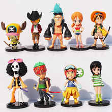 Free Shipping Anime One Piece Mini Luffy Roronoa Zoro Sanji Chopper Franky Nami Figure Toys 9pcs/lot